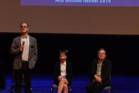 Ted Warburton, Lori Kletzer, and Chancellor Cindy Larive take questions