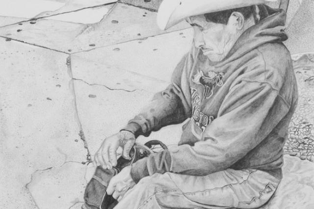 """115 Degree Laborer,"" Graphite, 12"" x 16"", 2015, detail. (Click to enlarge.)"