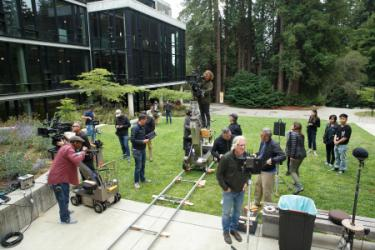 'Devs' production team took over the back side of McHenry Library. Yin Wu (Cowell, 2018, film and digital media), who worked as a production assistant, is standing on the far right. (Photo courtesy FX Productions)