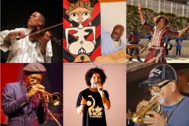 Collage: India Cooke, Emmanuelle Etolo, Mandjou Koné, Nelson Harris, Rahman Jamaal, Charles Tolliver