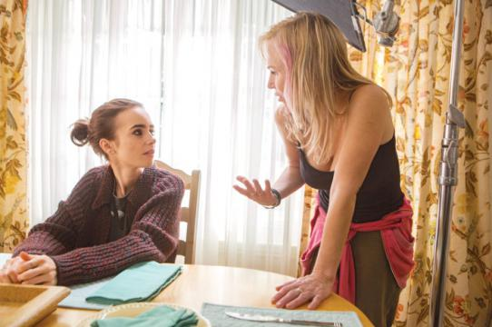 "Lily Collins and Marti Noxon on the set of ""To the Bone"""