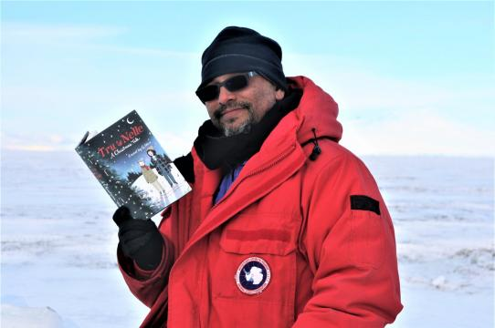 Greg Neri in Antarctica as part of a National Science Foundation grant for Artists and Writers