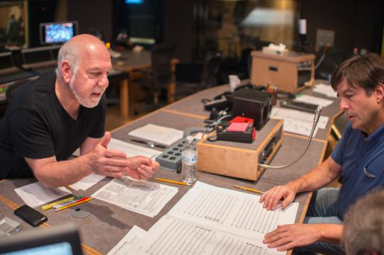 Bill Bernstein (l) working with Thomas Newman (r)