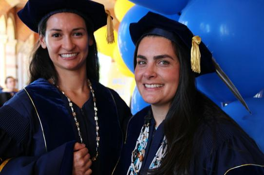 Yve Chavez, left, and Theresa Jean Ambo are the first women of Tongva descent to be awarded Ph.D.s in UCLA's nearly 100-year history. (photo: Christelle Snow/UCLA)