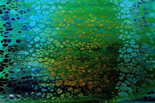 "Juniper Harrower, collaborative painting performance with algae, 18 x 24"""