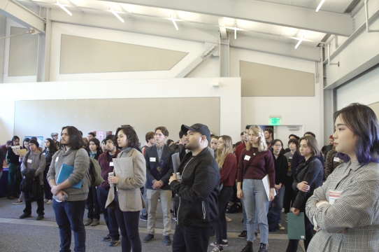 Our students listen intently to a speaker during Find YOUR Path networking event