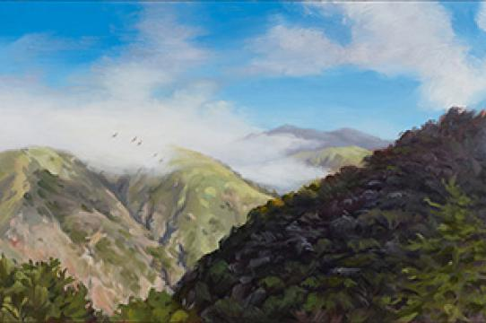Five Swallows Over Big Creek Canyon, oil on panel by Jenny Keller