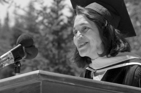 Dolores Huerta at UCSC, 1988 (Special Collections, UC Santa Cruz)