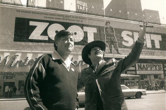 Cesar Chavez and Luis Valdez on Broadway photo courtesy Kinan Valdez)